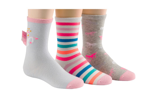 Stride Rite Faye Fringe Unicorn 3-Pack socks