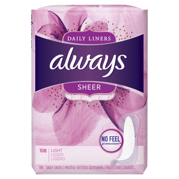 Always Daily Liners Sheer Unscented Light- 108ct/6pk
