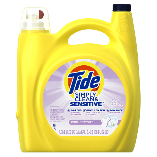 Tide Liq. Simply Clean&Sensitive Cool Cotton -138oz/4pk