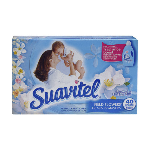 Suavitel Fabric Softener Sheets Field Flowers Blue 40sh/12pk