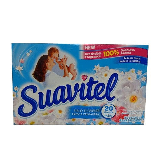 Suavitel Fabric Soft. Sheets Flower Blue - 20sh/15pk