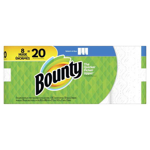 Bounty SAS Paper Towels White 8 Double Plus Rolls = 20reg - 138ct/1pk