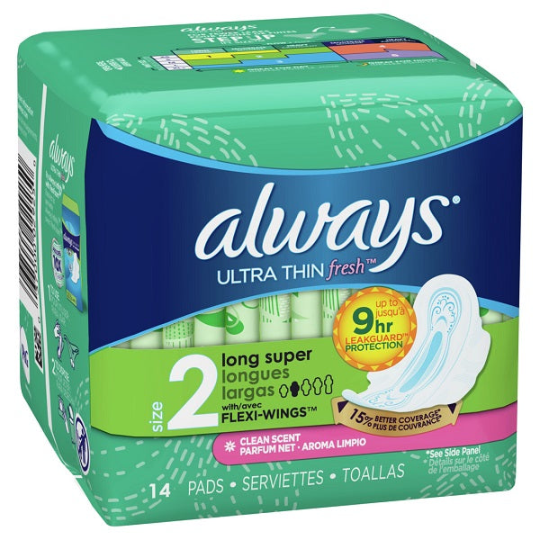 Always Ultra Thin SZ 2 Super Pads w/Wngs Scented - 14ct/12pk