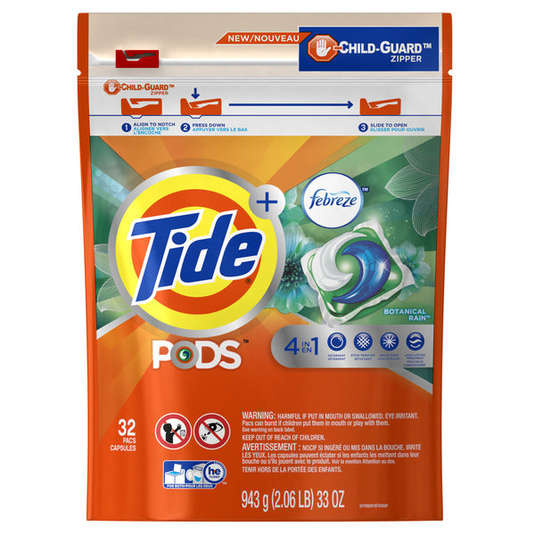 Tide LQ PODS WFF BOTANICAL RAIN - 32ct/4pk