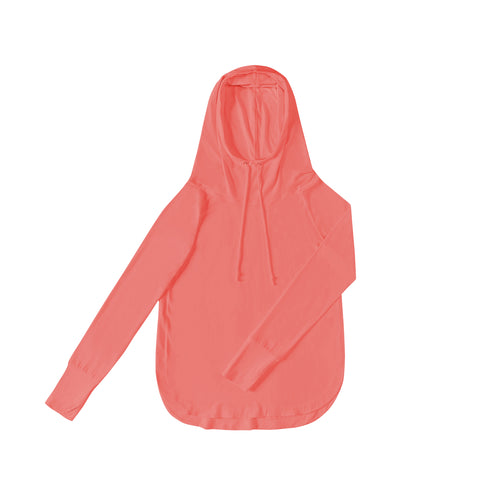 WOMENS Bamboo Cotton L/S Hoodie | UPF Protection Shirt - Coral