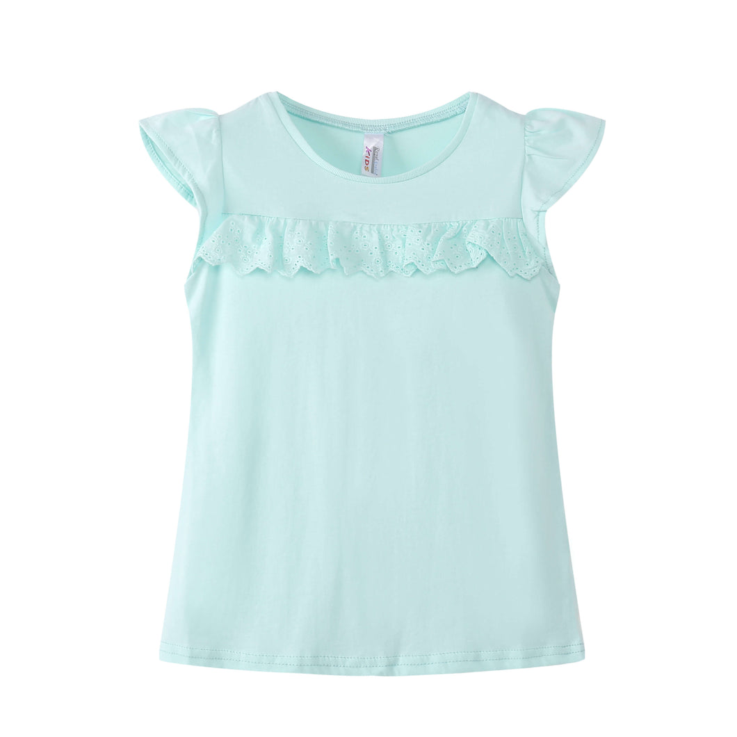 TODDLER S/L Ruffled Top 100% Cotton Honey Dew