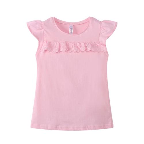 TODDLER S/L Ruffled Top 100% Cotton Pink