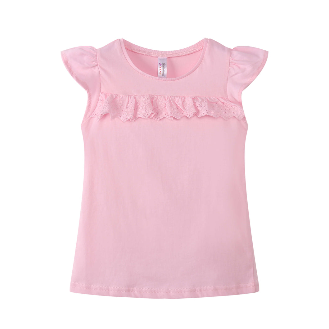 GIRLS S/L Ruffled Top 100% Cotton Pink