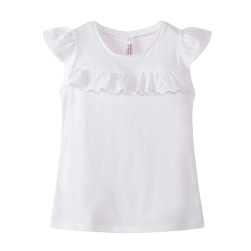 GIRLS S/L Ruffled Top 100% Cotton White