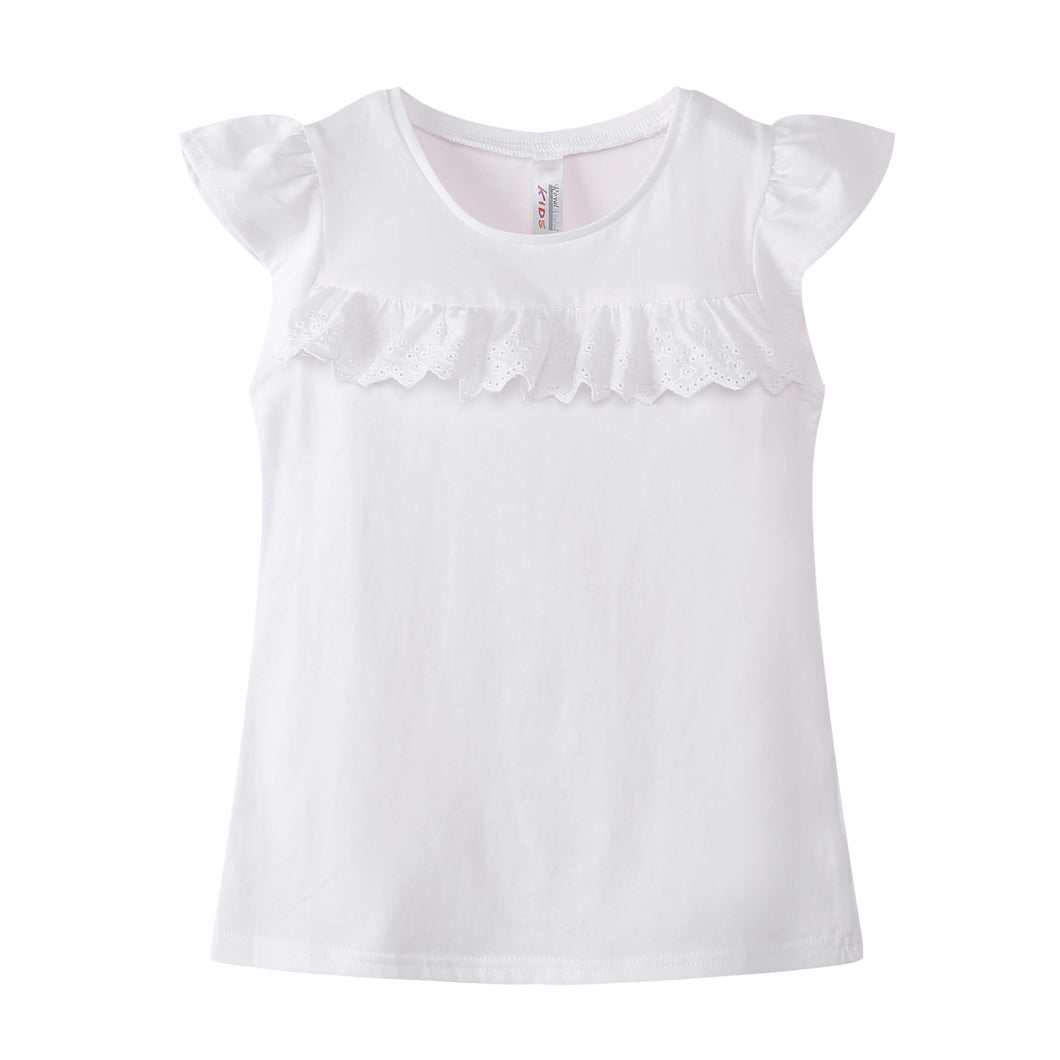 TODDLER S/L Ruffled Top 100% Cotton White