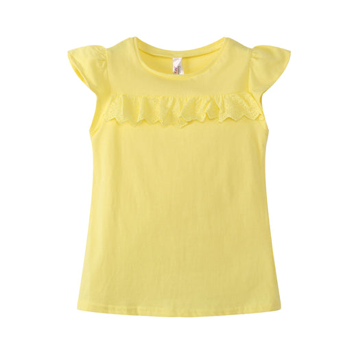 TODDLER S/L Ruffled Top 100% Cotton Yellow