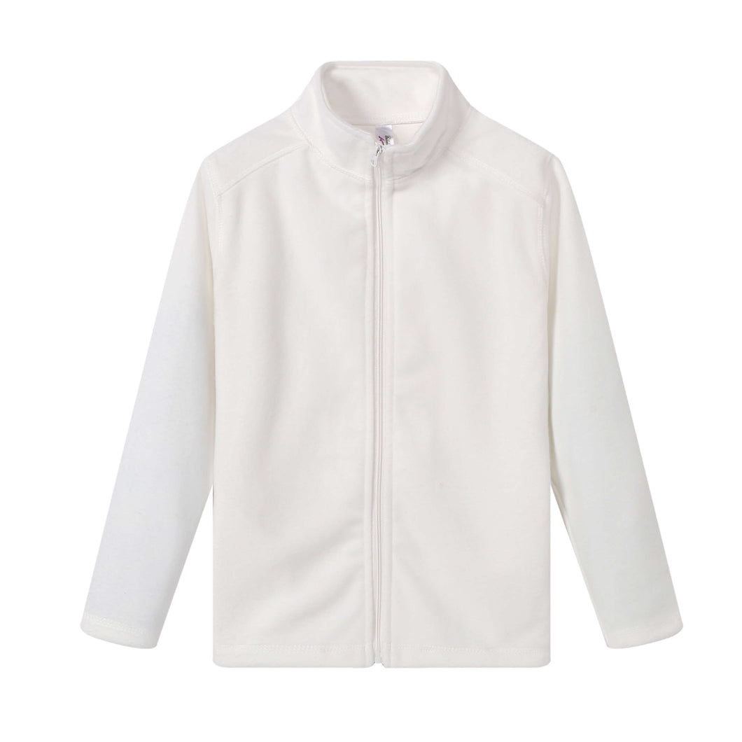 GIRLS L/S Full Zip Poly Fleece Jacket White