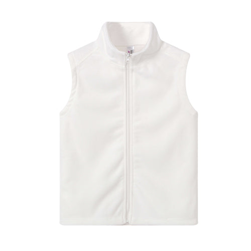 GIRLS S/L Fleece Full Zip Vest White