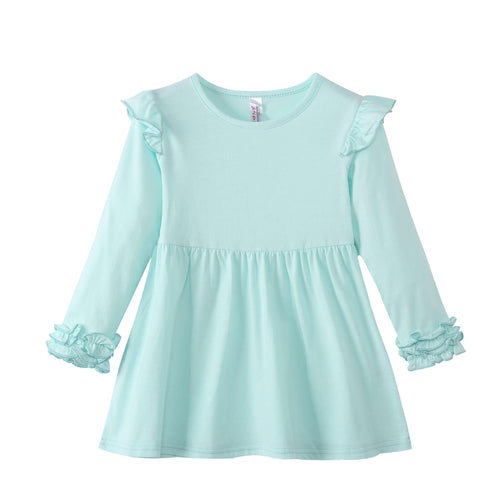 GIRLS L/S Dress with Ruffle Cuffs - Honeydew