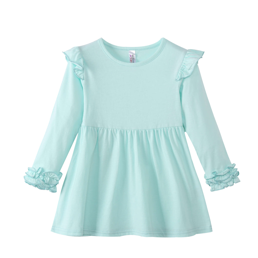 TODDLER L/S Dress with Ruffle Cuffs Honey Dew