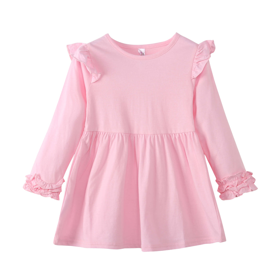 GIRLS L/S Dress with Ruffle Cuffs - Pink