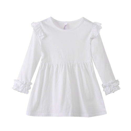GIRLS L/S Dress with Ruffle Cuffs - White