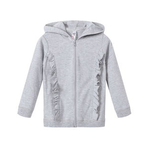 GIRLS 100% Cotton Full Zip Hoodie w/ Ruffles - Heather Grey
