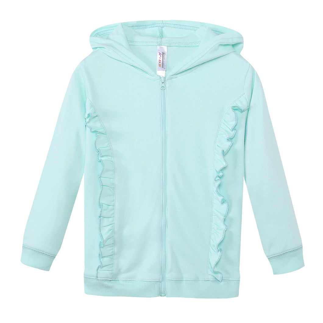 GIRLS 100% Cotton Full Zip Hoodie w/ Ruffles - Honeydew