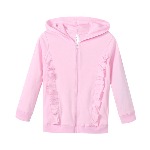 GIRLS 100% Cotton Full Zip Hoodie w/ Ruffles - Pink