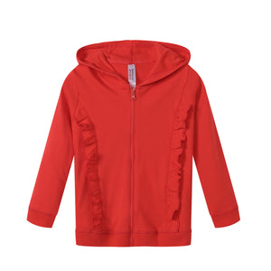 GIRLS 100% Cotton Full Zip Hoodie w/ Ruffles Red