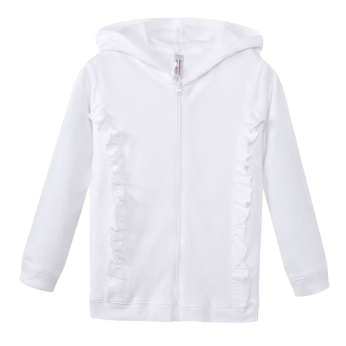 GIRLS 100% Cotton Full Zip Hoodie w/ Ruffles White