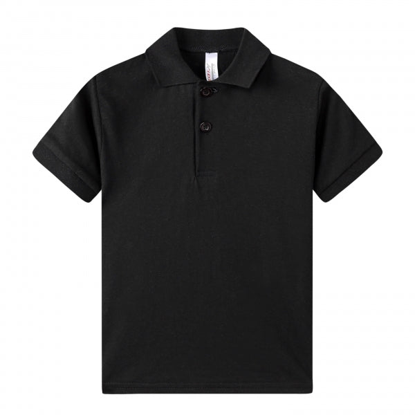 TODDLER S/S 100% Cotton Jersey Uniform Polo - Black