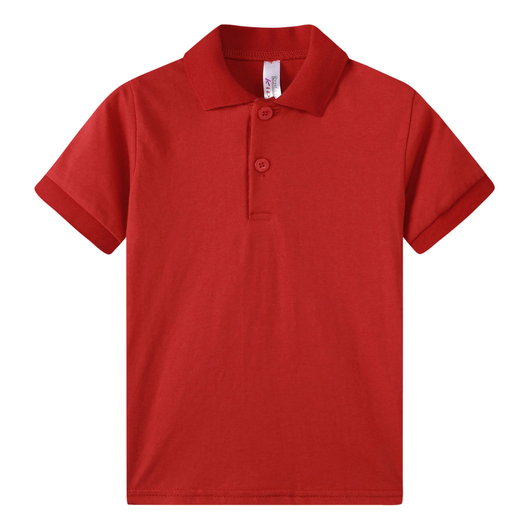 TODDLER S/S 100% Cotton Jersey Uniform Polo - Red