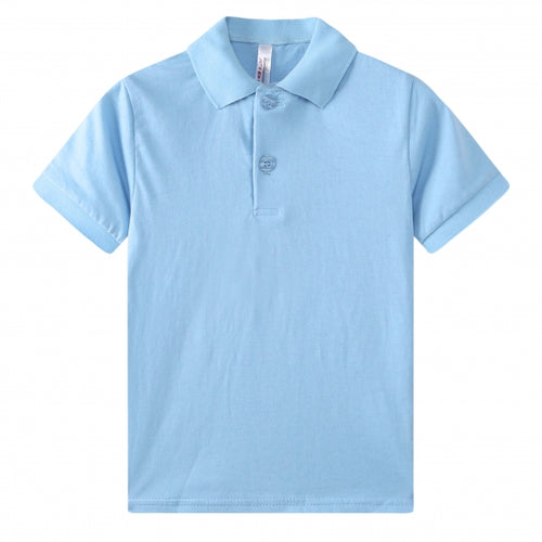 TODDLER S/S 100% Cotton Jersey Uniform Polo - Sky Blue