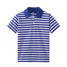 Load image into Gallery viewer, TODDLER S/S 100% Cotton Striped Polo - Blue