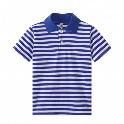 TODDLER S/S 100% Cotton Striped Polo - Blue
