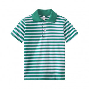 TODDLER S/S 100% Cotton Striped Polo - Green