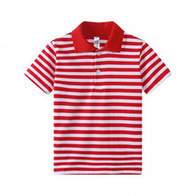 Load image into Gallery viewer, TODDLER S/S 100% Cotton Striped Polo - Red
