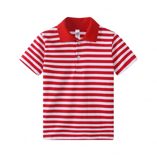 TODDLER S/S 100% Cotton Striped Polo - Red