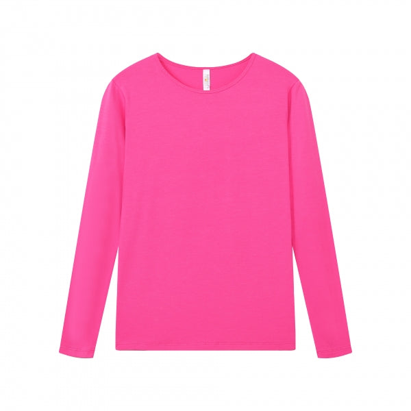 WOMENS Bamboo Cotton L/S Tee | UPF Protection Shirt - Fuchsia