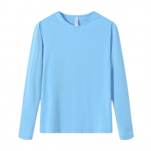 WOMENS Bamboo Cotton L/S Tee | UPF Protection Shirt - French Blue
