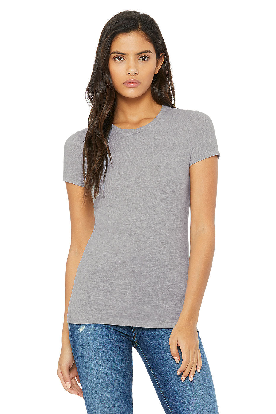 WOMENS 100% Cotton S/S Tee - Heather Grey