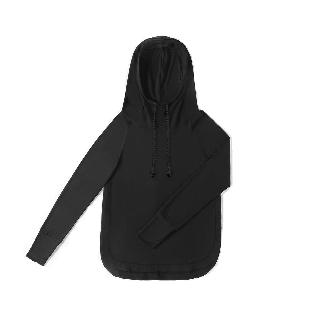 WOMENS Bamboo Cotton L/S Hoodie | UPF Protection Shirt -Black