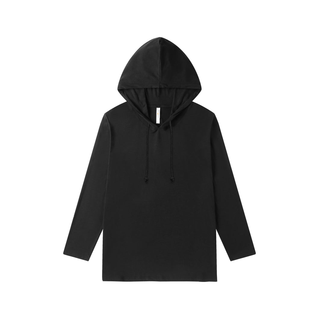 MENS Bamboo Cotton L/S Hoodie | UPF Protection Shirt - Black