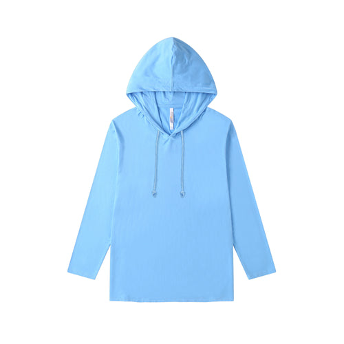MENS Bamboo Cotton L/S Hoodie | UPF Protection Shirt - French Blue