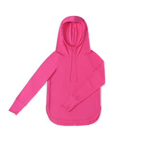 WOMENS Bamboo Cotton L/S Hoodie | UPF Protection Shirt - Fuchsia