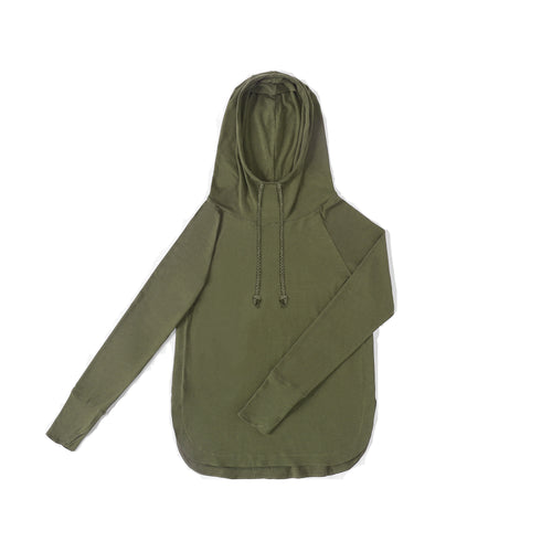 WOMENS Bamboo Cotton L/S Hoodie | UPF Protection Shirt - Khaki Green