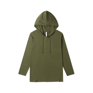 MENS Bamboo Cotton L/S Hoodie | UPF Protection Shirt - Khaki Green