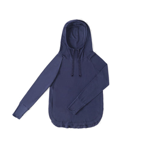 WOMENS Bamboo Cotton L/S Hoodie | UPF Protection Shirt - Navy