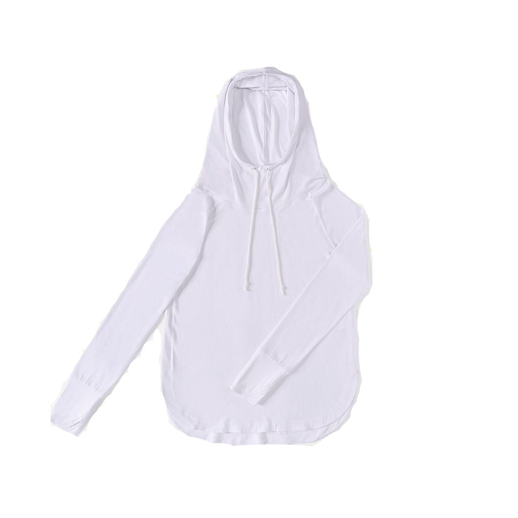 WOMENS Bamboo Cotton L/S Hoodie | UPF Protection Shirt - White