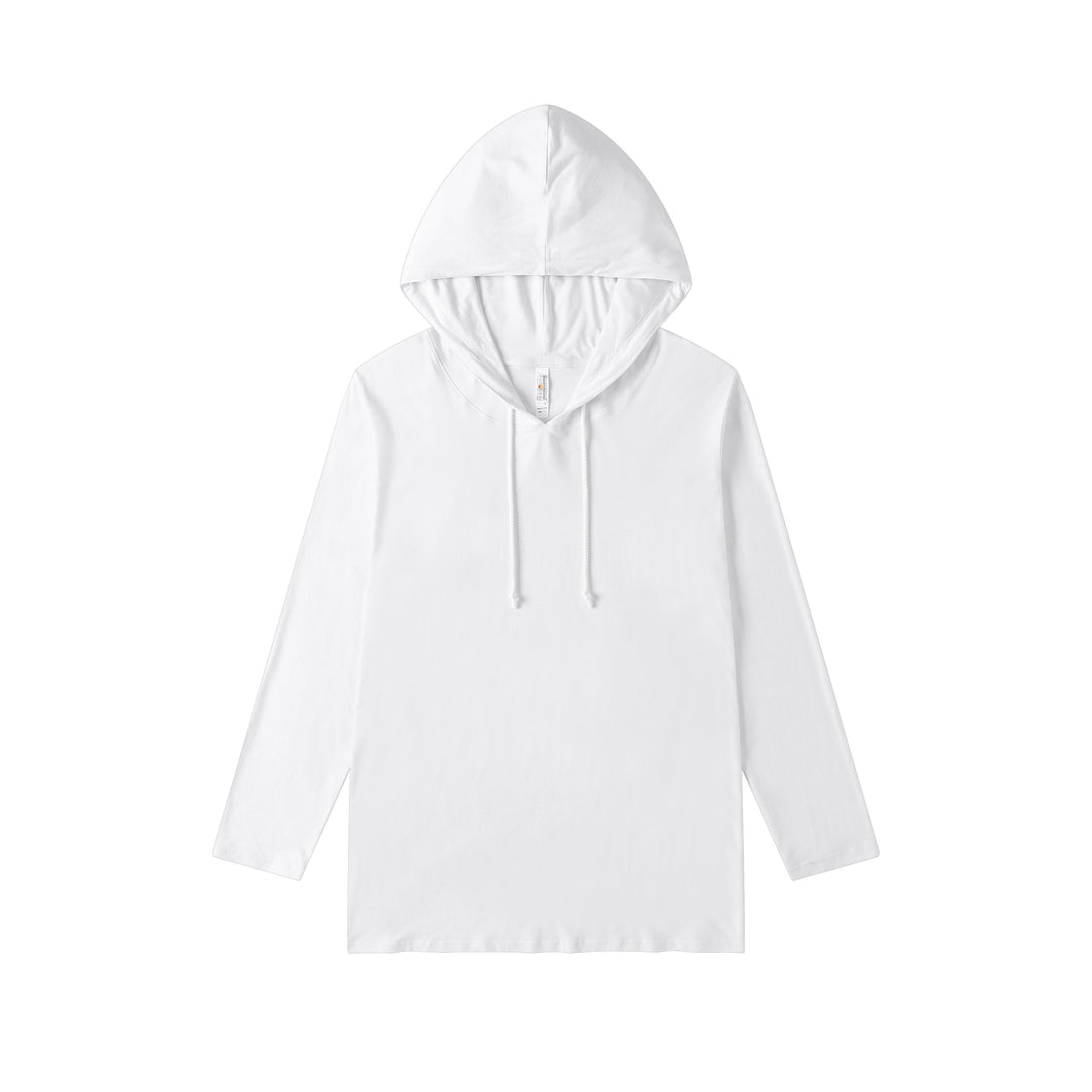 MENS Bamboo Cotton L/S Hoodie | UPF Protection Shirt - White
