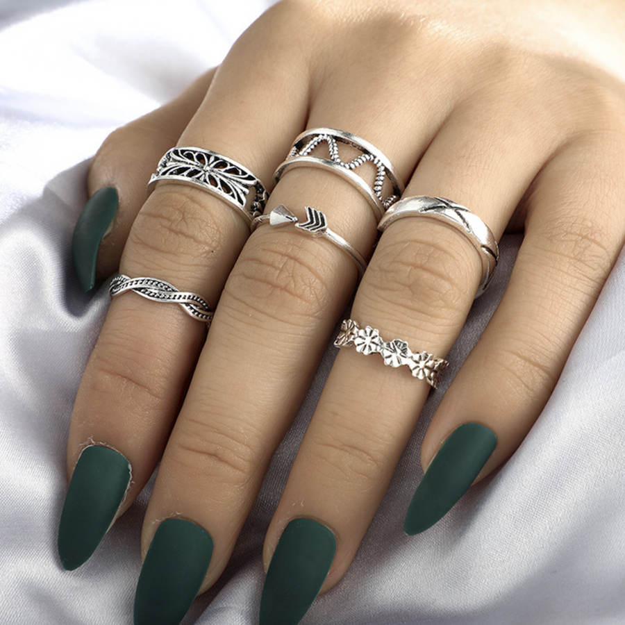 Silver Ring 6 Piece Set