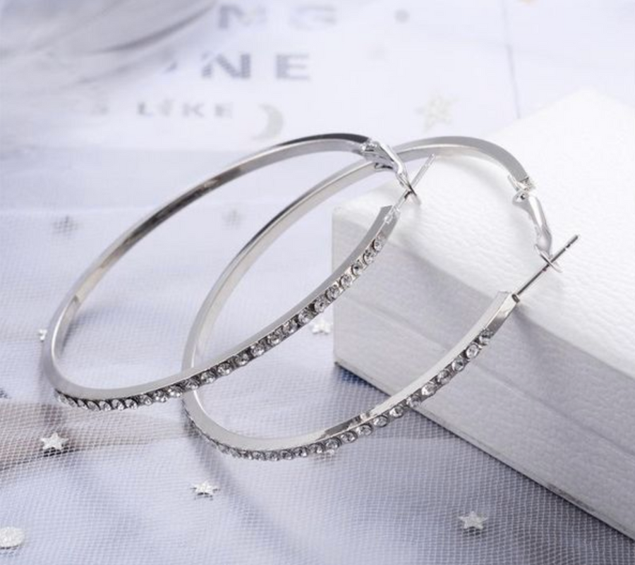 Silver Diamond Hoop Earrings
