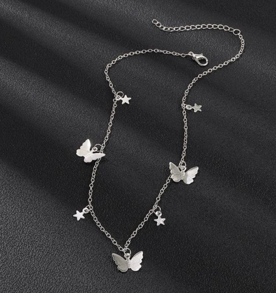 Silver Butterfly Chocker