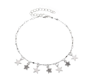 Silver Stars And Diamonds Anklet